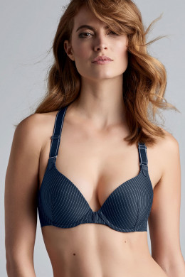 Marlies Dekkers Gloria pinstripe dark blue Push-Up-BH