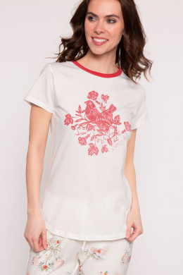 Pip Studio Loungewear 2019 Tanja Placement Birdy Top Short Sleeve