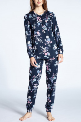 Calida Cosy Cotton Nights Pyjama lang mit Bündchen