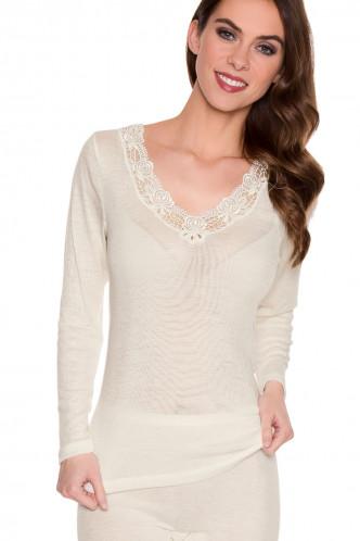 Abbildung zu Shirt langarm mit Spitze (s7960831) der Marke Sangora aus der Serie SCHURWOLLE/MODAL